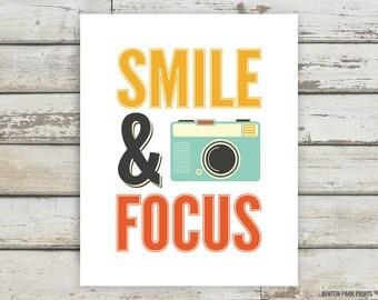 Smile & Focus, Camera, Photography, Typography, Camera Print, Photography Print, Motivational Print, Inspirational Print, Happy Artwork