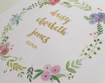 Personalised Nursery/ Wedding Wall Art, Original, Hand Painted, Custom made, Watercolour Flowers, Child/Couples's name
