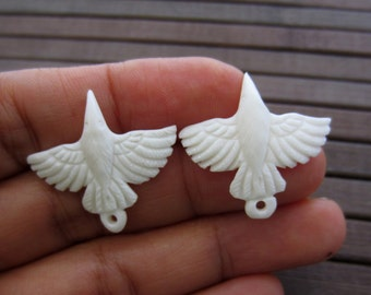 Hand carved pair of  tiny White Raven, Buffalo bone Carving,Pendant Beads,Jewelry making Supplies B5649