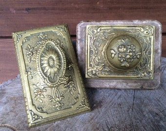 Set of Two Antique Brass Ink Blotters