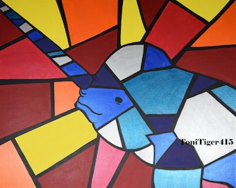 """Colorful Narwhal Print, Cubism Narwhal Print, 8x10 Inch Print, """"Picasso Pets"""" Series, Animal Cubism, Narwhal Wall Decor, Unicorn of the Sea"""