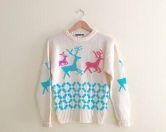 Vintage Pastel Deer Knit Chunky Wool Sweater  / 1980s