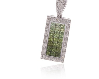 Multicolor Green Sapphire & Diamond Rectangle Pendant 18K Gold (3.69ct tw) SKU: PT1116G/1