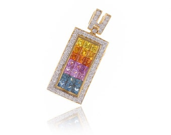 Multicolor Rainbow Sapphire & Diamond Rectangle Pendant 18K Gold (3.63ct tw) SKU: 8984 + 21554
