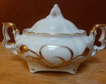 Antique Lefton China sugar bowl with lid