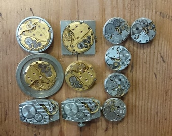 GOLD Movements, Lot of 9 vintage mechanical watch movements, watch parts mixed media jewelery lot, big movements