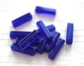 Deep blue glass tube beads