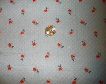 PRETTY Blue FABRIC w/ Red & Pink flowers  3 3/4 YARDS oz of quality cotton quilting material