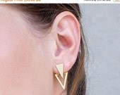 SALE Valentines day ear jacket, gold stud earrings, two triandgle earrings, gold plated silver plated geometric ear jackets, pair of gold ea
