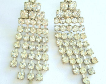 Vintage Earrings Rhinestone Chandelier Pierced