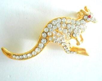 Vintage Brooch Kangaroo Rhinestones Gold Tone