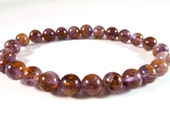 Cacoxenite in Amethyst Stretch Bracelet 7mm Smooth Golden Rutilated Round Gemstone Beads RARE