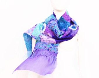 Silk Wool Patchwork Scarf Hydrangea Lavender