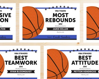 Participation award etsy editable basketball award certificates instant download printable royal blue and black yelopaper Images