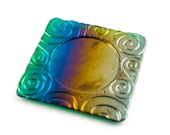 Wine Coasters, Rainbow Colors, Fused Glass, Candle Plate, Imprinted Design, Bar Accessories, Bottle Decor, Cool Gifts for Men, Wine Gift