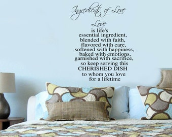 Ingredients of Love - Romantic Anniversary Vinyl Wall Decal -  Wall Lettering 39+ Colors