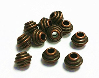 50pc 6mm antique copper finish metal beads-7699h