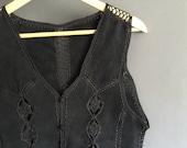Black Suede & Crochet Waistcoat Large
