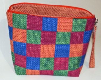 Patchwork Knit Purl project bag