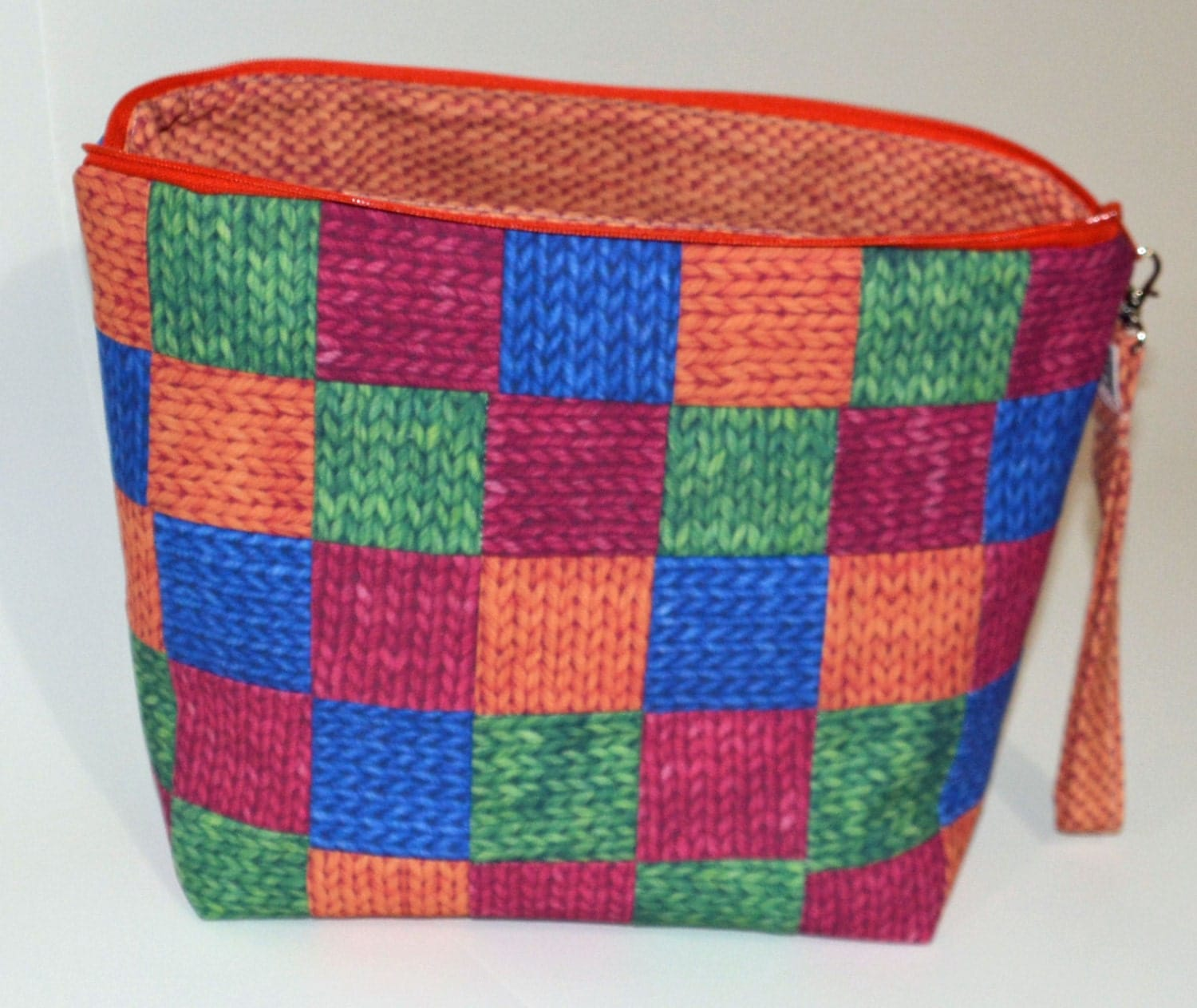 Patchwork Knitting Bag Pattern : Patchwork Knit Purl project bag by TheSilverShedUSA on Etsy
