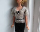 Barbie clothes - black and fawn v-neck dress with button detail