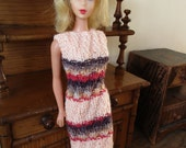 Barbie clothes - multi-coloured dress in pink, brown and red