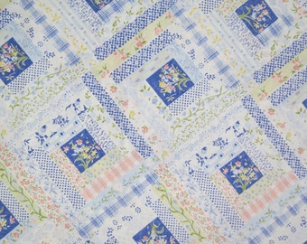One Yard of Vintage Sheet Fabric - Blue Quilt Cheater Fabric