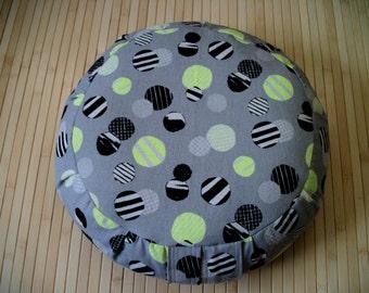 "Meditation Cushion. Zafu. Floor Pillow. Buckwheat Hulls. Fabric Kokka Trefle L neon circles. 15""x5"" H.  Sidewall Zipper. Handmade, USA"