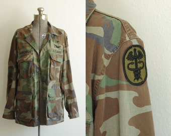 1982 US Army Combat Coat Woodland Camouflage Size Medium Long, Selma Apparel
