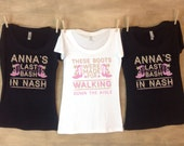 Last Bash In Nash Nashville Bachelorette Party Shirts Personalized with name and date