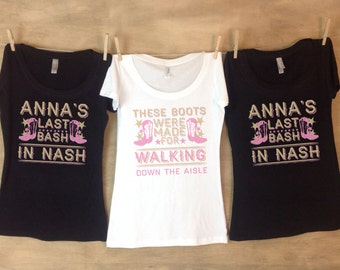 Last Bash in Nash™ Nashville Bachelorette Party Shirts Personalized with name and date