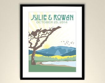 Carmel Valley Personalized 11x14 Poster //Landscape Vintage Travel Poster-Names and date (frame not included)