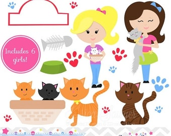 80% OFF - INSTANT DOWNLOAD, cat adoption clipart or kitty adoption clip art for an adoption party. Personal or commerical use