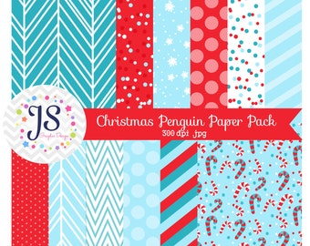 INSTANT DOWNLOAD, Christmas digital paper or red and blue backgrounds for commercial use or personal use