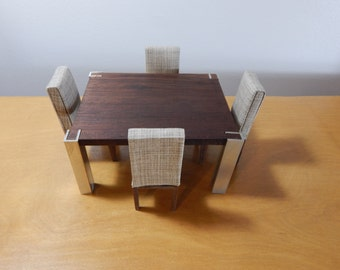 1:12 Scale Modern Wooden Dining Set