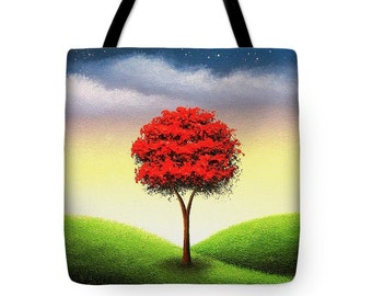 Red Tree Tote Bag, Enchanted Tree Market Bag, Tree Art Shoulder Bag, Handbag, Fairytale Art, Yoga Bag, School Book Bag, Large Canvas Tote