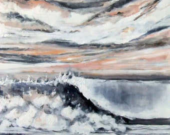 The Color of Winter- Wave Study - Original Oil/Acrylic Painting Lg