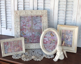 Distressed White Picture Frames - Set of 4 Table Top Easel Back - 8x10 4x6 - Angel Faces - Oval