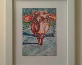 "framed 10""x13"" ORANGE COW at the MALL original 5""x7"" sfa kimartist closeup dairy head face folk holy modern sacred blue how now brown ooak"