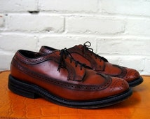 SALE Fab Patina Brogues 1980s Vintage Wing Tips Longwings Mens 9 EEE Dress Shoes Pebbled Scotch Leather Bluchers Coburne Square O'Sullivans
