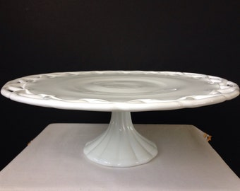 Colony Lace Edge - Milk Glass - Cake Stand - Holiday -Wedding