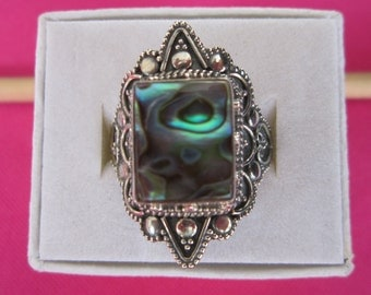 Sterling Silver Ring with Rectangular Abalone Shell size 8,5