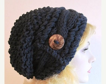 SALE Slouchy Beanie Slouch Cable Hats Oversized Baggy Beret Button womens fall winter accessory Navy Blue Super Chunky Hand Made Knit