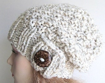 SALE Gray Slouchy Beanie Slouch Wool Hats with Button womens fall winter accessory Oversized Baggy Wheat Grey Super Chunky Hand Made Knit