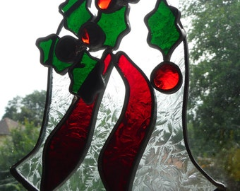 Christmas Bell with Holly and Berries in Stained Glass Suncatcher