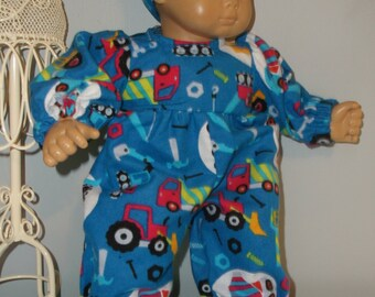 Bitty Baby Doll boy blue flannel footed sleeper or pajamas, 15 or 16 inch doll by Project Funway on Etsy