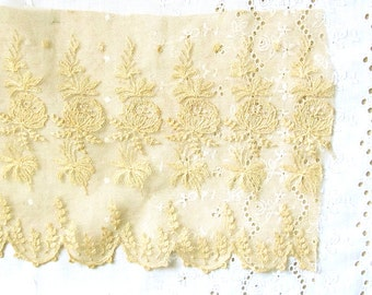 """2, 14"""" Pieces Antique Cotton Lace Intricate Tambour Tulle by 6 1/4"""" wide; Golden Ecru French Trim"""