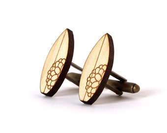 Surf cufflinks - wooden Surf jewellery - lasercut - accessory for men
