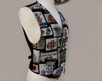 SALE Vintage Home Sweet Home Vest // Fun Vest, Crazy Vest, Multicolor Patterned Black Vest, Wild Vest, Unique Vest, One of a Kind