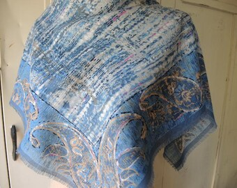 vintage wool scarf Specialty House paisley  made in Japan  31 x 31 inches
